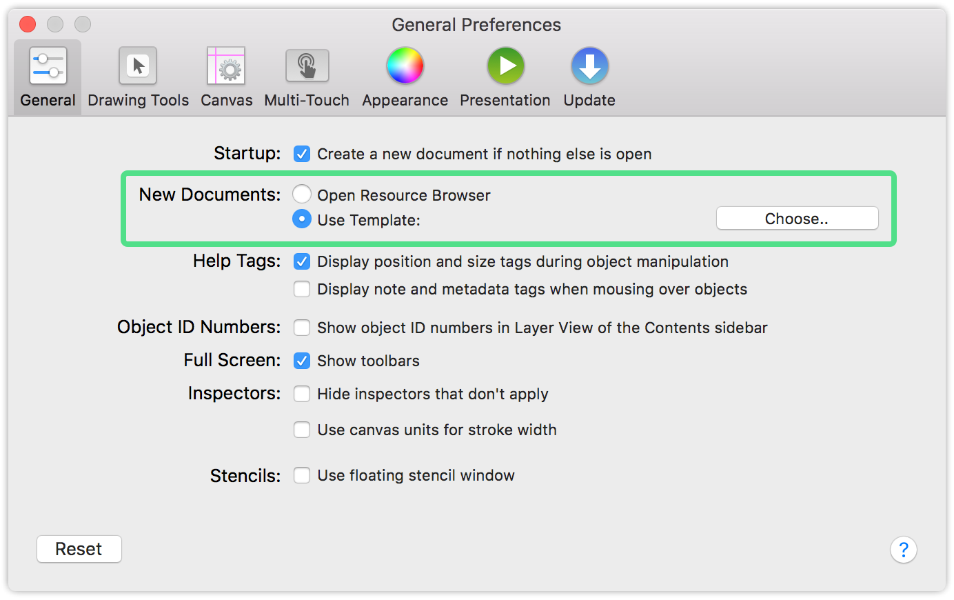 "Under General in OmniGraffle Preferences, choose ""Open Resource Browser"" or pick a new template when creating a new document."
