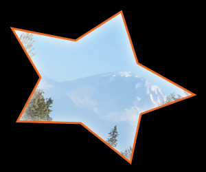 Screenshot showing a picture clipped to a star shape.